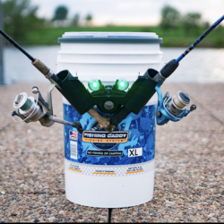 Picture of a fishing bucket and two fishing rods attached to it