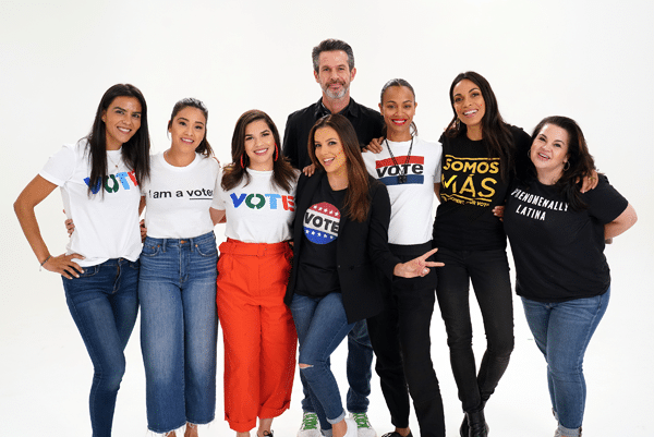 Eva Longoria, America Ferrera, Gina Rodriguez, Zoe Saldana and Rosario Dawson are seen prior to the Latinas Stand Up rally ALEXANDER TAMARGO/GETTY IMAGES