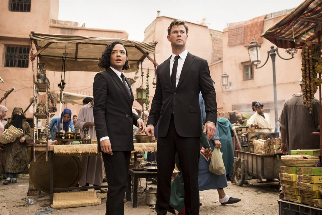 Tessa Thompson on movie set with Chris Hemsworth