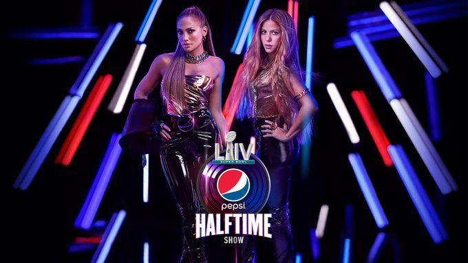 Jennifer Lopez and Shakira pose side by side for the Super Bowl 2020 halftime promo