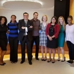 Dr. Robert Rodriguez {in middle} with TIAA employees in Chicago