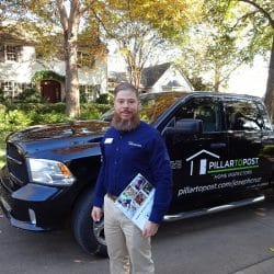 Joseph Cruz stands in front of his home inspection vehicle