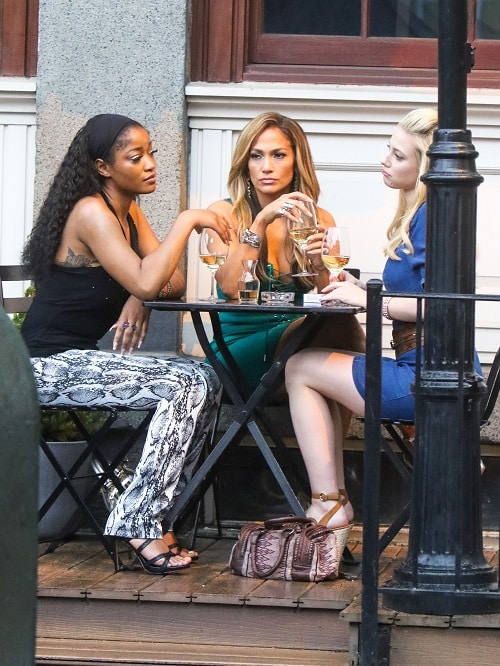 Keke Palmer, Jennifer Lopez and Lili Reinhart are seen on the film set of 'Hustlers' in New York City