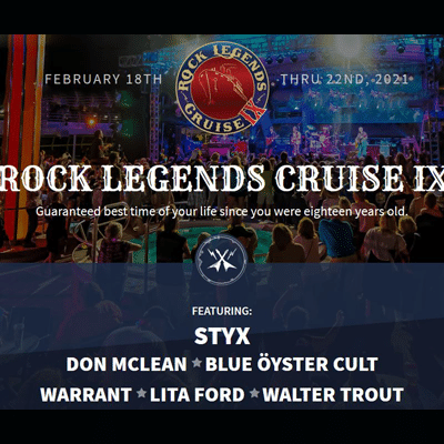 Poster promo for the 2021 Rock Legends Cruise