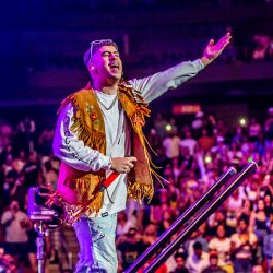 Bad Bunny performs before large audience