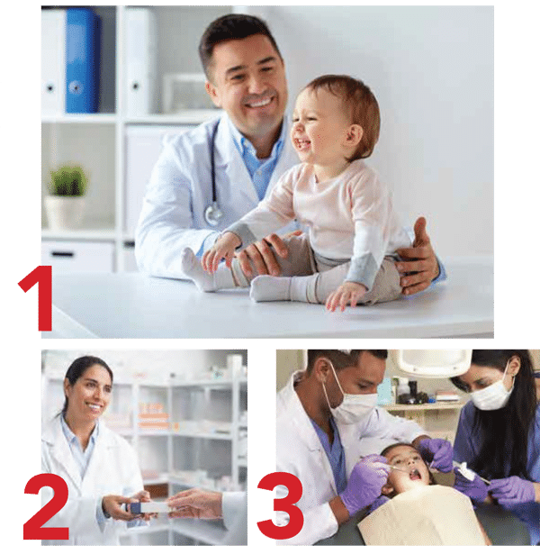 collage image of a doctor and patient, dentist and patient and a professional woman with a lab coat on