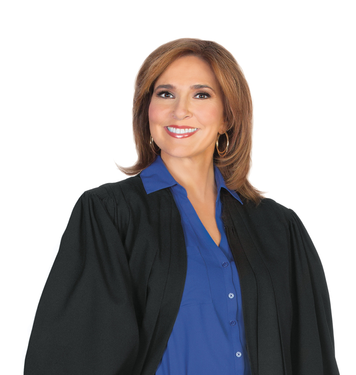 Judge Marilyn Milian wearing cout robe smiling